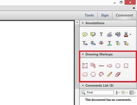 วิธีเปิดใช้งานเครื่องมือ Drawing Markups ใน Adobe Reader XI